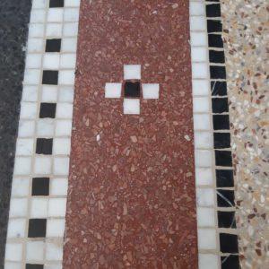 detail van mozaïek 3 kleuren